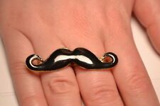 Black Enamel Double Finger Moustash Ring Adjustable. FREE P&P. Stocking Filler!