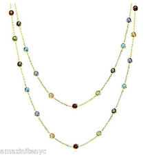 14K Yellow Gold Station Necklace W/ Round Multi-Color Gemstones By The Yard 36""