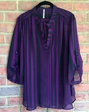Womens Plus Size Chiffon Top Black, Purple Stripes Yummy Plus Size 1X