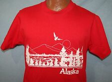 Vintage 80s ALASKA Landscape POLY TEES Hawaii Crew Neck Red T-SHIRT M Vtg