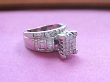Stunning 14K solid white GOLD Diamond Cluster ENGAGEMENT RING  sz 4.5 1.5-2ctw