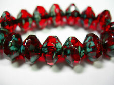 15 8x10mm Czech Glass Ruby Red Travertine - faceted Saucer Beads