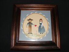 Original Framed Stenciled Painting of Sweethearts by R Ross