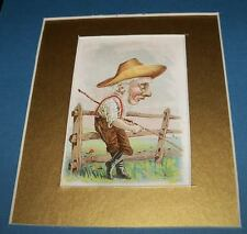 Victorian 1880s Store Trade Card OLD MAN Whittling Cane Stick Whittle Lithograph
