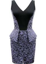 Yoana Baraschi Purple Rain Peplum Dress Size 6 Sleevless Cocktail