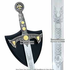 "38"" Medieval Templar Knight Crusader Sword with Plaque Renaissance Cosplay"