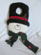 "24"" Giant Christmas Plush Snowman w/Hat & Scarf Door Knob Hanger Metallic Shiny"