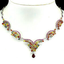 191 CTS! SUPERIOR! NATURAL FANCY MULTI-COLORED SAPPHIRE-RUBY 925 SILVER NECKLACE