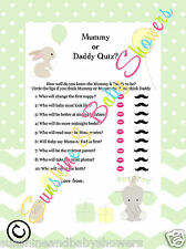 Baby Shower Game Mummy or Daddy Quiz ELEPHANT & BUNNY 20 Players GREEN NEUTRAL