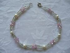 "100 % Authentic fresh water pearls with Glass Crystal beads  9"" Ankle Bracelet"
