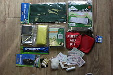 9PC MIXED EMERGENCY OUTDOOR SURVIVALKIT TENT/BLANKET/POUNCHO/ MAP CASE UK SELLER