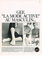 PUBLICITE ADVERTISING  1969   GEF  chaussettes sous vetements homme