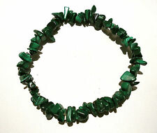 NATURAL DEEP GREEN MALACHITE GEMCHIP BEADED STRETCH BRACELET BNWOT