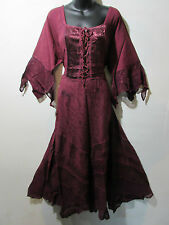 Dress 1X 2X Plus Renaissance Burgundy Sexy Corset Lace Up Chest and Hem NWT 522