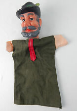 Vintage Gray Bearded Man Feather Hat Swiss Vinly Head Hand Puppet Cloth Body