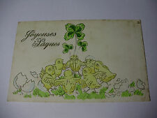 K267 - 1904 Joyeuses Paques - HAPPY EASTER Chicks and Clover FRENCH Postcard