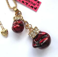 Betsey Johnson shiny crystal Bordeaux red enamel Boxing gloves Necklace,#596L
