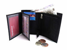 MENS HIGH QUALITY SOFT BLACK REAL LEATHER WALLET CREDIT CARD HOLDER COIN POUCH