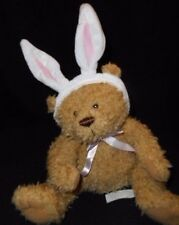 "9"" Brown Plush Stuffed Teddy Bear with Pink Bunny Rabbit Ears Lightly Loved"