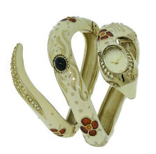 Roberto Cavalli R7253132517 Eva Women's Cream Enamel Yellow Stones Snake Watch