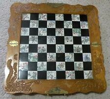 Vintage hand Carved Wood Folding Chess Board with Chinese Chess Pieces