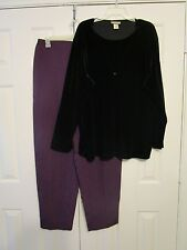 Just for Women 20w purple pants, new with tags, Notations 2x black velvet blouse