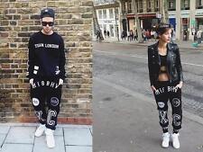 MISBHV black white graphic track pants dance lounge hip hop unisex joggers xs-s