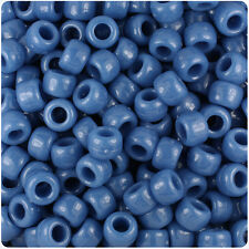 500 Denim Blue Marbled 9x6mm Barrel Pony Beads Made in the USA