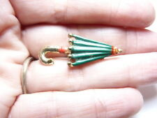 Vintage Small Gold Tone Metal Red Green Enamel Umbrella Brooch