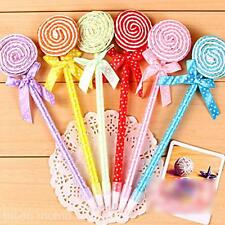 6pc Cute School Children Stationery Writing Pen Flat Lollipop Ballpoint Ball Pen