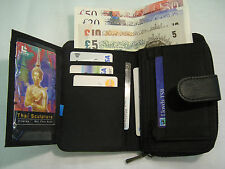 Soft Leather Purse Wallet Black with Large Coin Pocket and Many Features