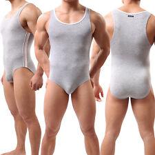 New Men's Sports Leotard Underwear Fitness Vest Tank Top One-Piece Briefs Gray L