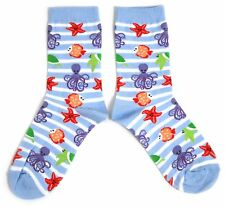 LADIES OCTOPUS STARFISH SEA TURTLE MARINE BLUE SOCKS UK 4-8 EUR 37-42 USA 6-10