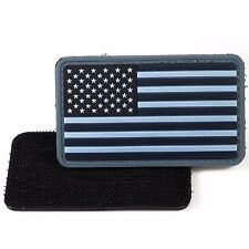 PVC Morale Patch American Flag Blue Grey 3D Badge Hook #21 Paintball