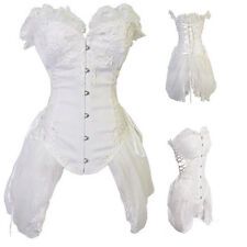 White Sexy Lace Up Boned Overbust Bustier Waist Training Corset Top Plus Size
