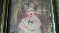 Antique Miniature Portrait Painting Child with cat palm trees / ocean background