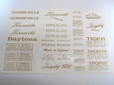 Mylar decal sheet Triumph unit 500 650 Bonneville Daytona Tiger Trophy GOLD