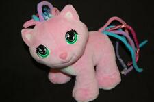 """CURLY Q PETS PINK CAT 9"""" PLUSH  HANDS ON DESIGN  STUFFED ANIMAL LOVEY TOY HTF"""