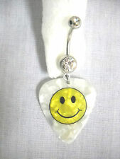 NEW SMILEY FACE HAVE A NICE DAY PRINTED GUITAR PICK ON 14g CLEAR CZ BELLY RING