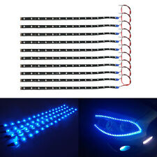 10Pcs 30Cm 15 LED Car Truck Motors Flexible Strip Light Lamp Waterproof Blue SG