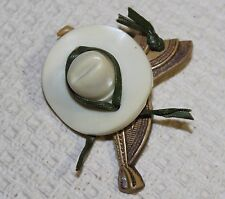 VTG 30s 40s 50s HORSE SADDLE COWBOY HAT CELLULOID PIN WESTERN RODEO EQUESTRIAN