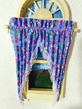 DOLLHOUSE MINIATURE LAVENDER FLORAL  CURTAIN / VALANCE  4 INCHES WIDE