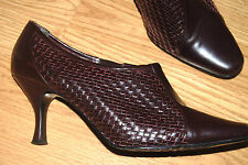 MASSEY'S maroon brown woven leather JOHN DAVID booties ankle boots 10 $179 NICE