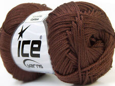Lot of 6 Skeins Ice Yarns CAMILLA COTTON (100% Mercerized Cotton) Yarn Dark B...