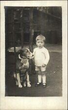 Little Boy & His Dog c1915 Amateur Real Photo Postcard