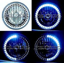 """7"""" White LED Angel Eye Ring Motorcycle Halo Headlight Blinker Turn Signals Light"""