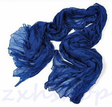 NEW Hot Women Long Big Crinkle Voile Soft Scarf Wrap Shawl Stole Pure Dark Blue