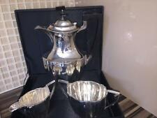 Solid silver Art Deco Coffee Pot sugar bowl and cream bowl 952g  excellent