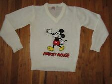Vtg 80s Disney Character Fashions Mickey Mouse V Neck Sweater Women's Sz S