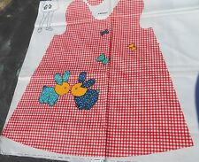 Summer Dress Preprinted Fabric Panel Toddler Size 2,3,4 Red Gingham Calico Uncut